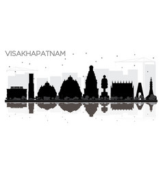 visakhapatnam india city skyline black and white vector image