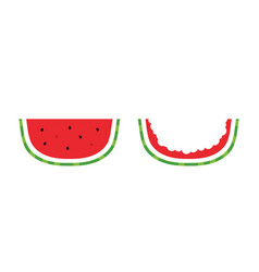 Watermelon slice and watermelon rind vector