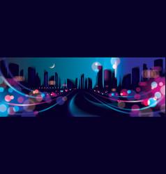 Wide panorama abstract urban night light bokeh vector