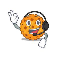With headphone pumpkin pie in a character jar vector