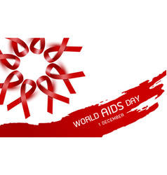 world aids day design of red ribbon vector image