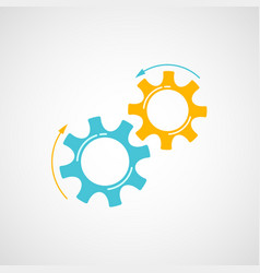 yellow and blue teamwork concept with cog and gear vector image