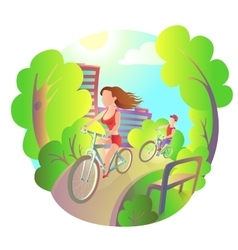 Young girl and guy on a bike ride around the city vector