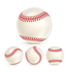 baseball leather ball close-up set isolated on vector image