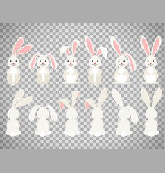 easter cartoon bunny on transparent background vector image vector image