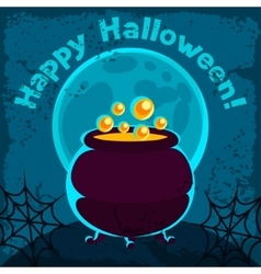 Happy halloween greeting card with pot of potion vector image vector image