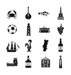 portugal travel icons set simple style vector image
