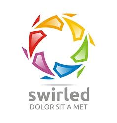 swirled rainbow ball symbol vector image