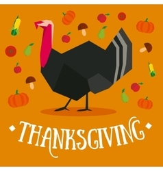 Thanksgiving square postcard with turkey vector image vector image
