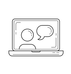 video chat line icon vector image vector image