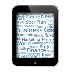 business words on tablet vector image