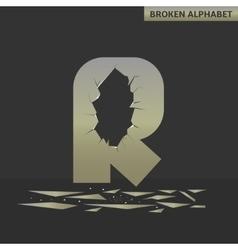 Letter R Broken mirror vector image vector image