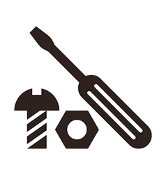 Screwdriver nut and bolt icon vector image vector image