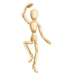 wooden man dancing vector image vector image