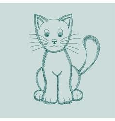 Cute Pseudo-pencil Drawing Cat vector image vector image