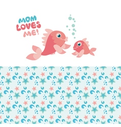 pastel color little fish family vector image vector image