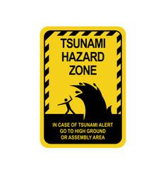 sign warning of a tsunami vector image