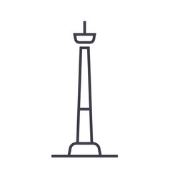 tv tower line icon sign on vector image