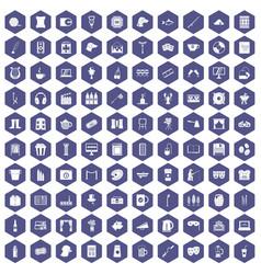 100 leisure icons hexagon purple vector image vector image