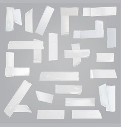 Adhesive tape various pieces realistic set vector