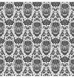 black seamless lace skull vector image vector image
