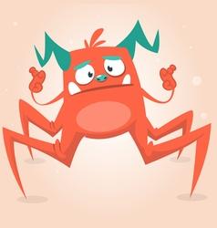 Cute cartoon monster spider Halloween vector image