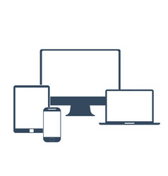 Electronic devices with white blank screens - vector image