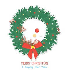 Green christmas wreath isolated on white backgroun vector image vector image