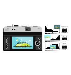 photo camera back side with histogram graphs vector image vector image