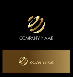 round sphere technology gold logo vector image