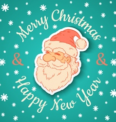 Santa retro and snow vector image vector image