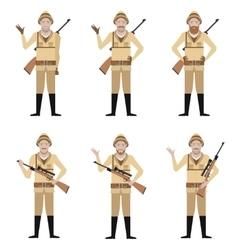 Set of Safari Hunters vector image