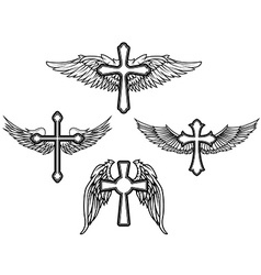 Set of the cross with wings vector image