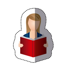 sticker colorful woman reading book icon vector image