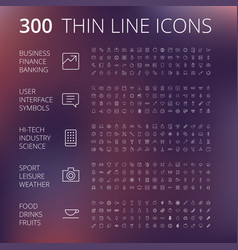 thin line icons for business technology and vector image