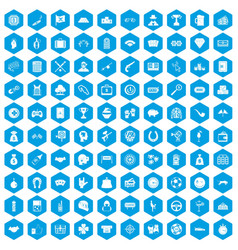 100 gambling icons set blue vector