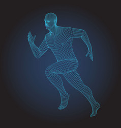 3d wire frame human body sprinter running figure vector