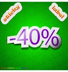 40 percent discount icon sign Symbol chic colored vector