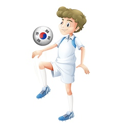A man using the ball with the flag of South Korea vector