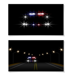 abstract light effects police car at night close vector image