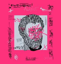 agora pink graffiti sculpture design printing vector image