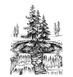 alpine waterfall mountain river landscape drawing vector image