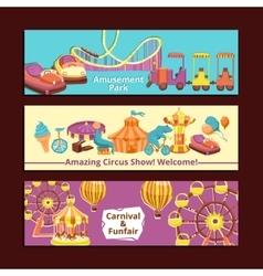 Amusement Park Banners vector image