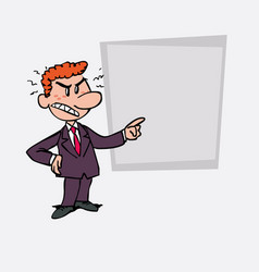 Angry red hair businessman is showing as in a vector