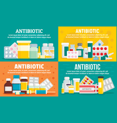 Antibiotic banner set flat style vector