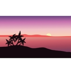Beautiful sunrise on the beach vector