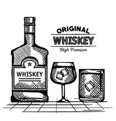 best whiskey bottles and cups drawn vector image