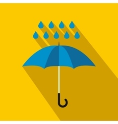 Blue umbrella and rain drops icon flat style vector image