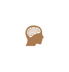 brain inside the head a technology style for logo vector image