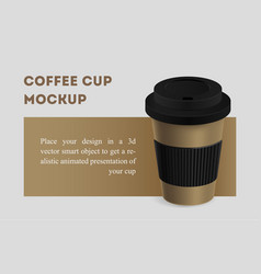 Brown coffee cup with black holder mockup vector